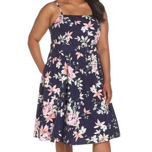 Eliza J Belted Floral Fit and Flare Midi Dress 16